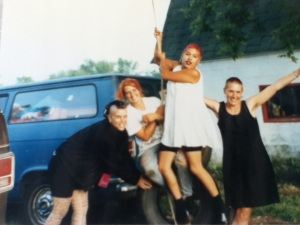 Spitboy: US Tour 1992  Right before playing in a barn somewhere in Michigan, I think.